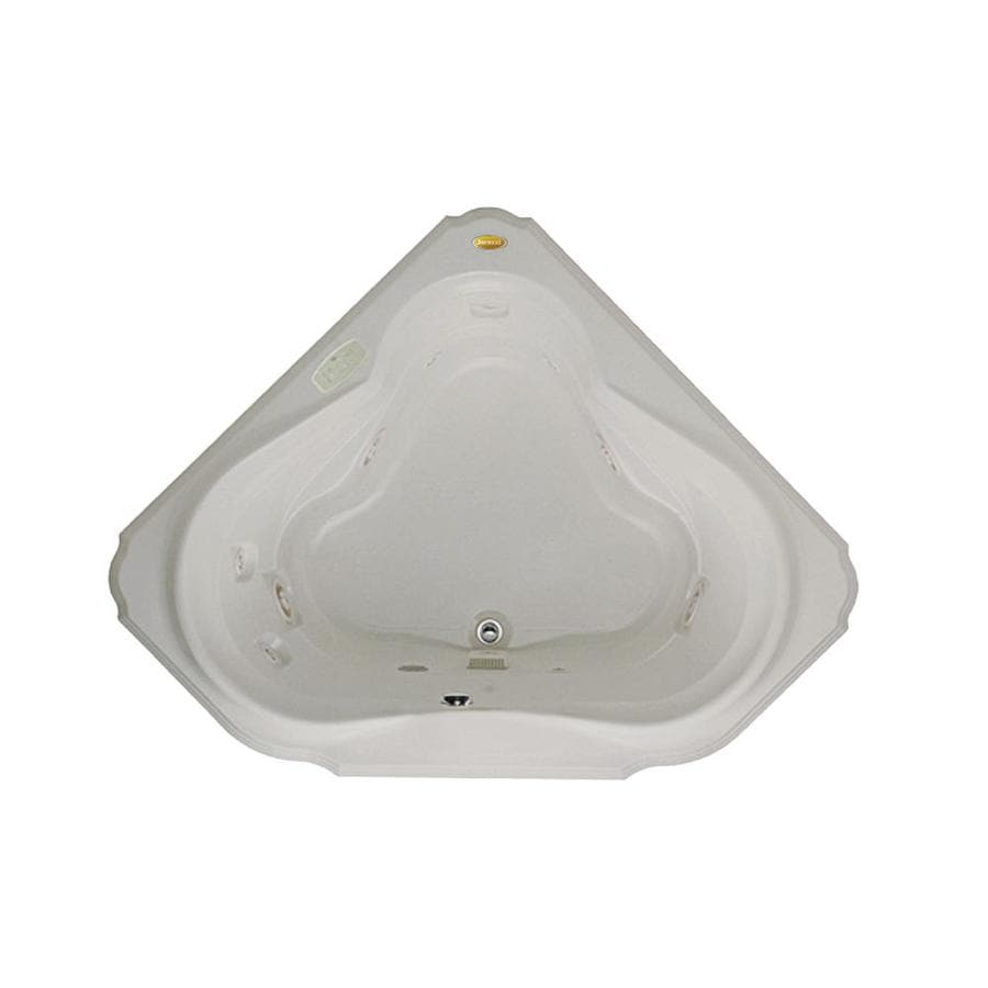 Jacuzzi Marineo 2-Person Oyster Acrylic Corner Drop-in Whirlpool Tub (Common: 60-in x 60-in; Actual: 25-in x 60-in)