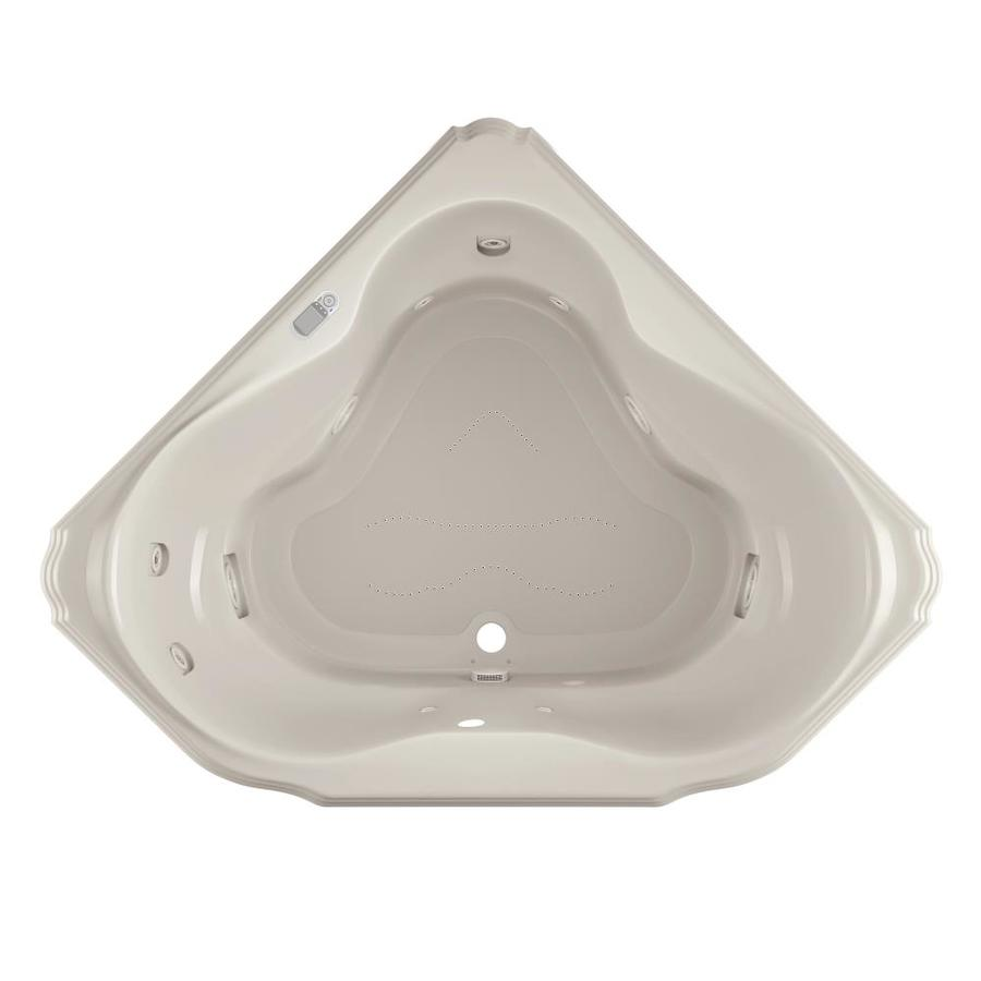 Jacuzzi Marineo 60-in L x 60-in W x 25-in H 2-Person Oyster Acrylic Corner Whirlpool Tub and Air Bath