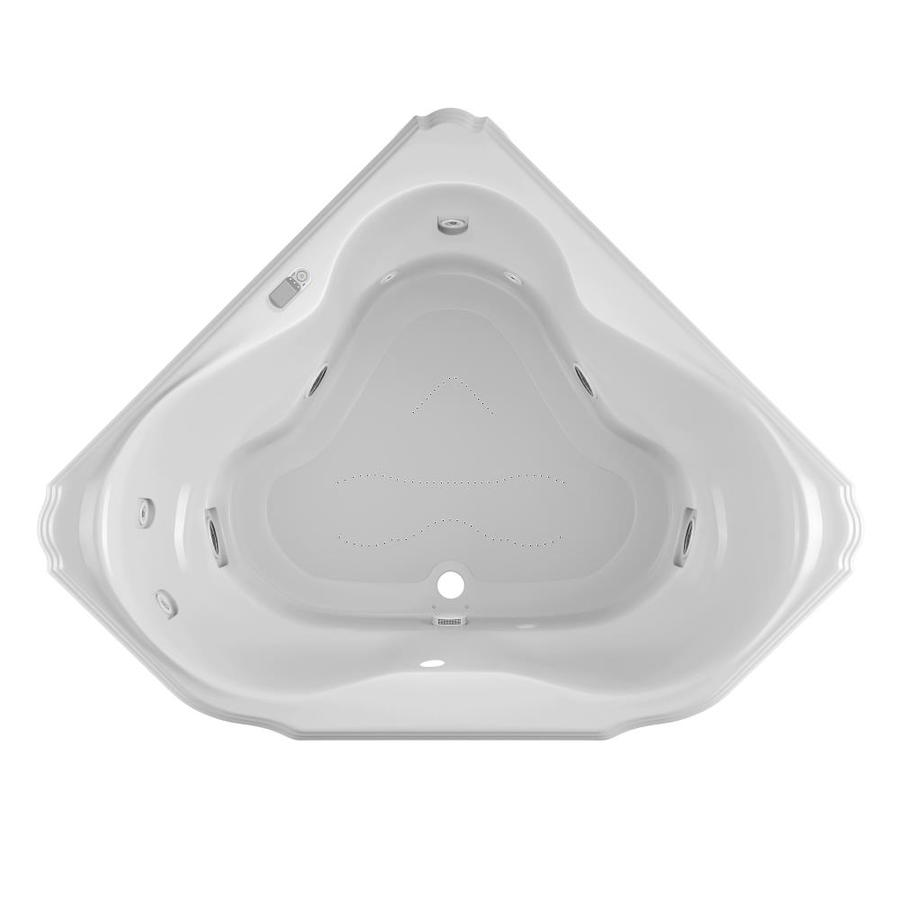 Jacuzzi Marineo 60-in L x 60-in W x 25-in H 2-Person White Acrylic Corner Whirlpool Tub and Air Bath