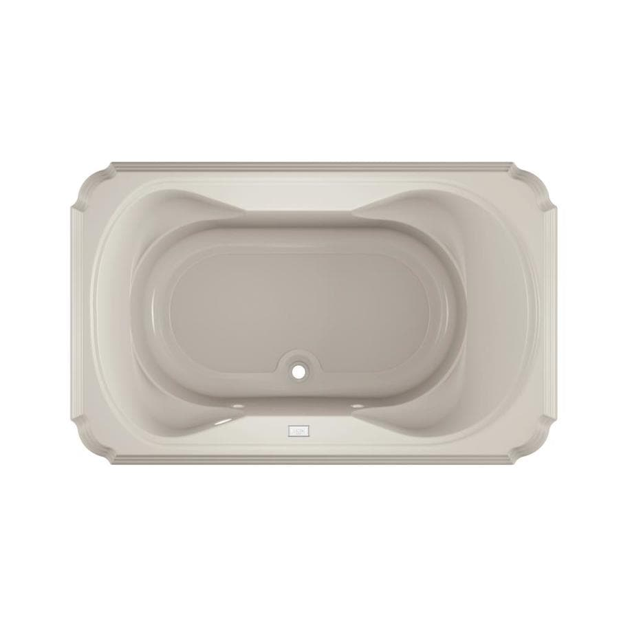 Jacuzzi Marineo Oyster Acrylic Rectangular Drop-in Bathtub with Center Drain (Common: 42-in x 66-in; Actual: 26-in x 42-in x 66-in)