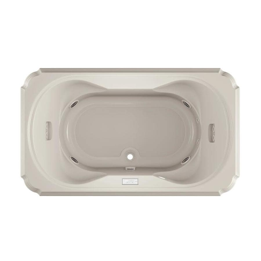 Jacuzzi Marineo 2-Person Oyster Acrylic Rectangular Drop-in Whirlpool Tub (Common: 42-in x 72-in; Actual: 26-in x 42-in)