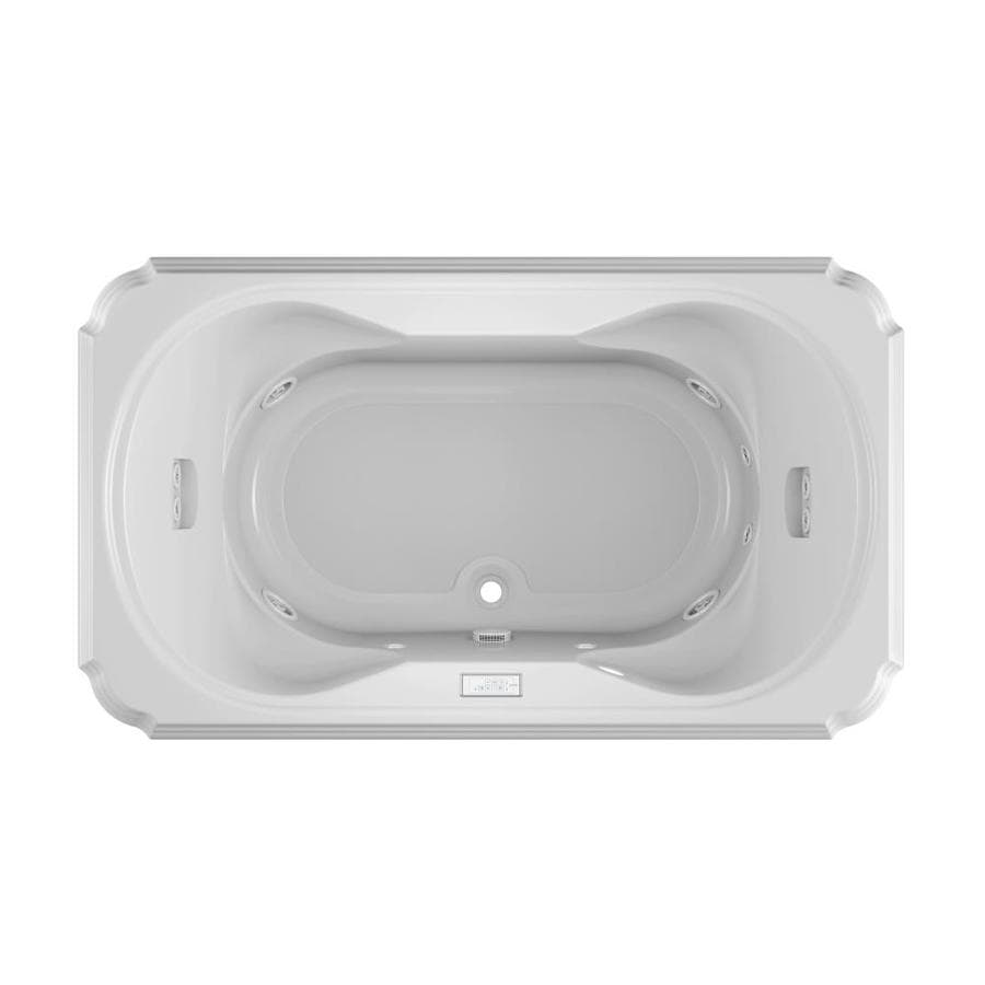 Jacuzzi Marineo 2-Person White Acrylic Rectangular Drop-in Whirlpool Tub (Common: 42-in x 72-in; Actual: 26-in x 42-in)
