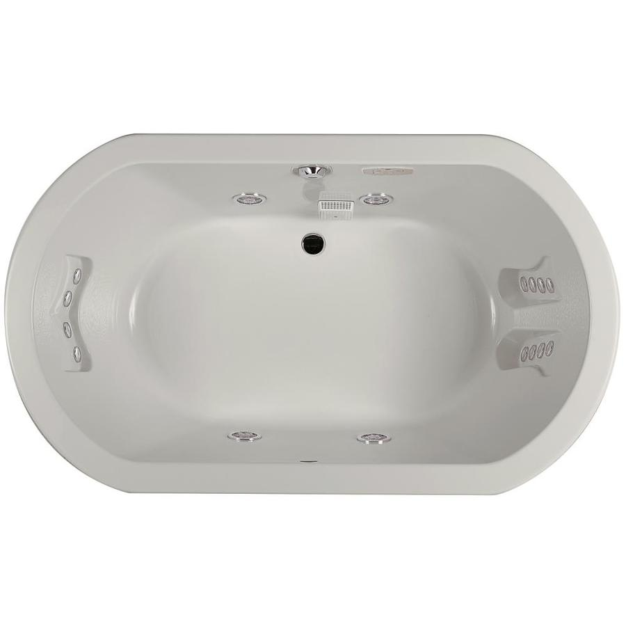 Jacuzzi Anza 2-Person Oyster Acrylic Oval Drop-in Whirlpool Tub (Common: 42-in x 60-in; Actual: 26-in x 42-in)