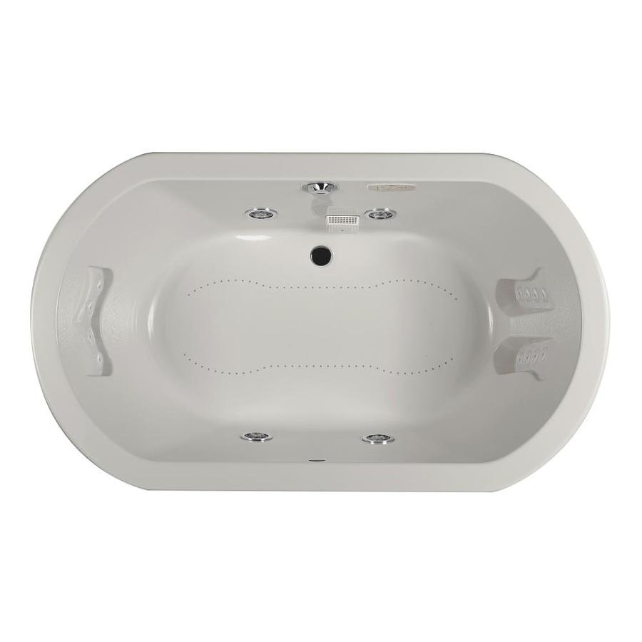 Jacuzzi Anza 60-in L x 42-in W x 26-in H 2-Person Oyster Acrylic Oval Whirlpool Tub and Air Bath