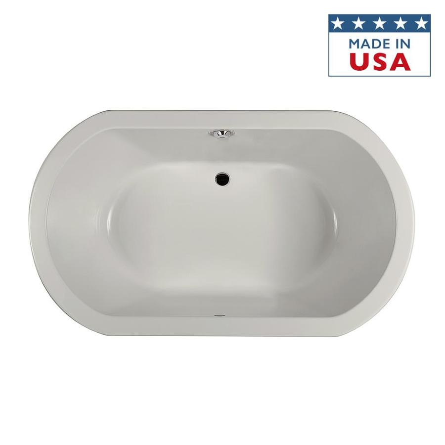 Jacuzzi Anza Oyster Acrylic Oval Drop-in Bathtub with Center Drain (Common: 42-in x 66-in; Actual: 26-in x 42-in x 66-in)