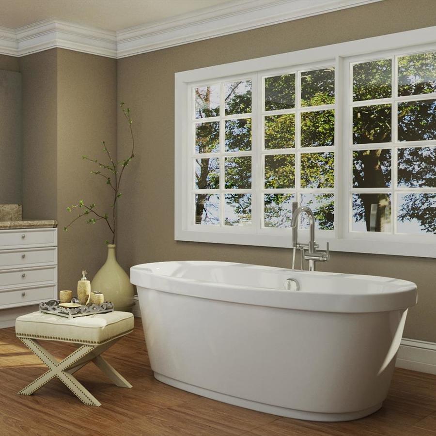 jacuzzi inizio white acrylic oval freestanding bathtub with center