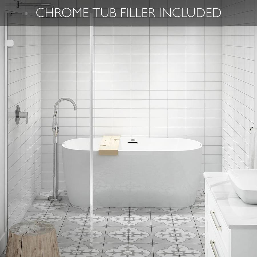 Shop jacuzzi primo white acrylic oval freestanding bathtub with center drain common 30 in x 59 - Free standing tubs ...