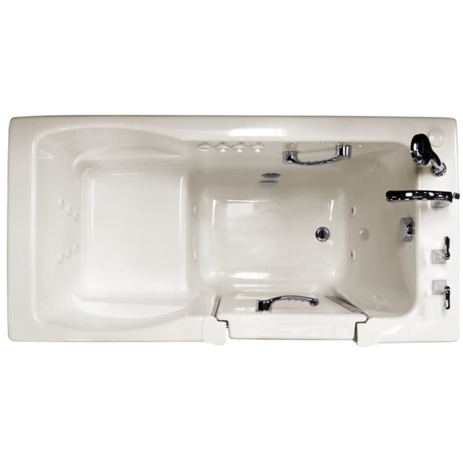 Ristorre 60-in L x 30-in W x 38.5-in H Oyster Acrylic Rectangular Walk-in Whirlpool Tub and Air Bath