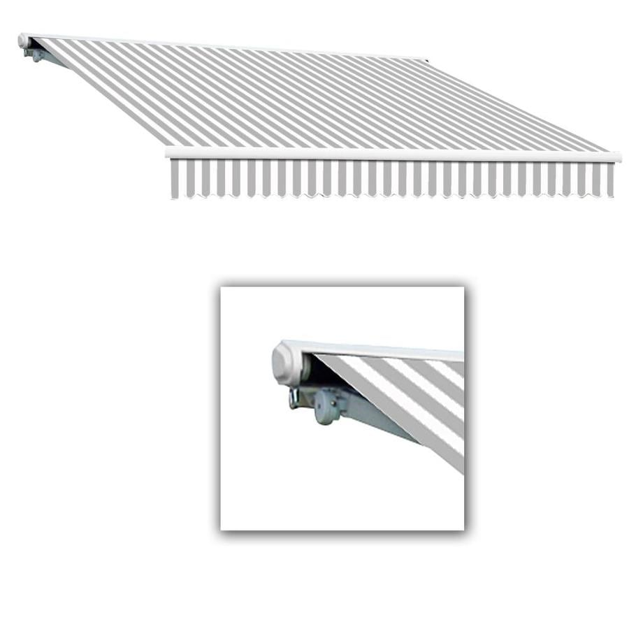 Black//White Key West Full Cassette Left Motorized Retractable Awning 12 ft 120 in. Projection