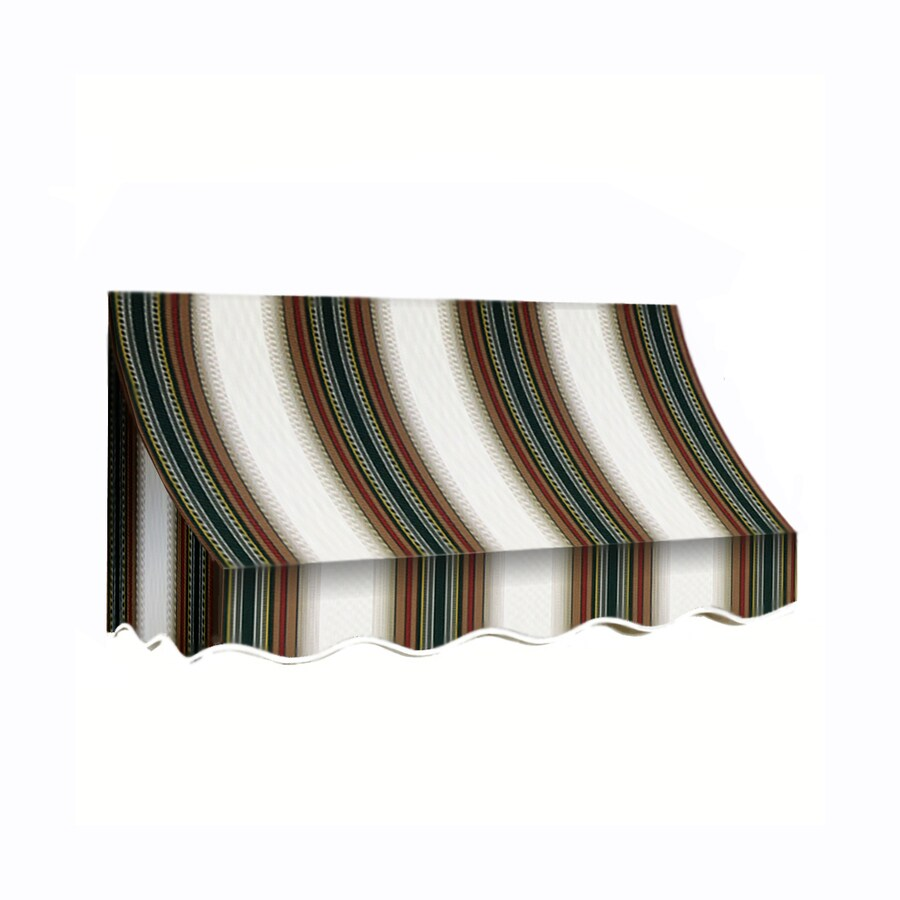 Awntech 88.5-in Wide x 24-in Projection Burgundy/Forest/Tan Stripe Crescent Window/Door Awning