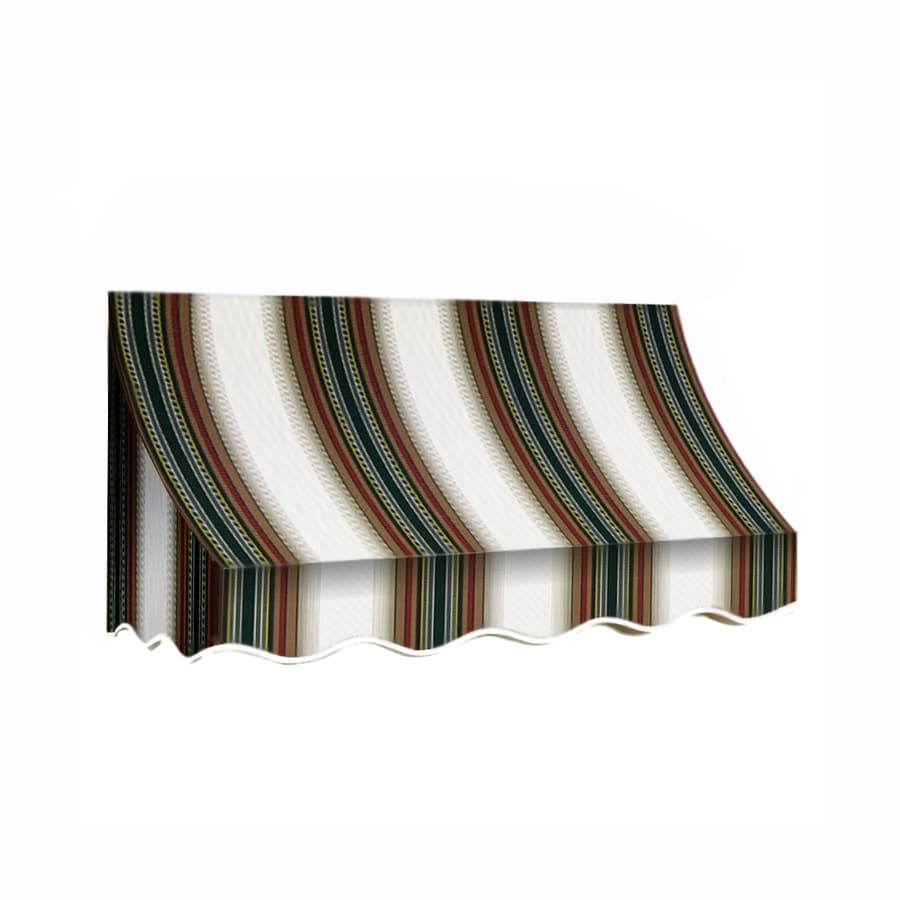 Awntech 124.5-in Wide x 24-in Projection Burgundy/Forest/Tan Stripe Crescent Window/Door Awning