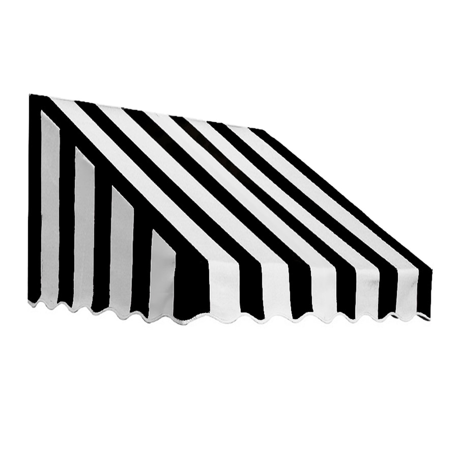 Awntech 76.5-in Wide x 30-in Projection Black/White Stripe Slope Low Eave Window/Door Awning