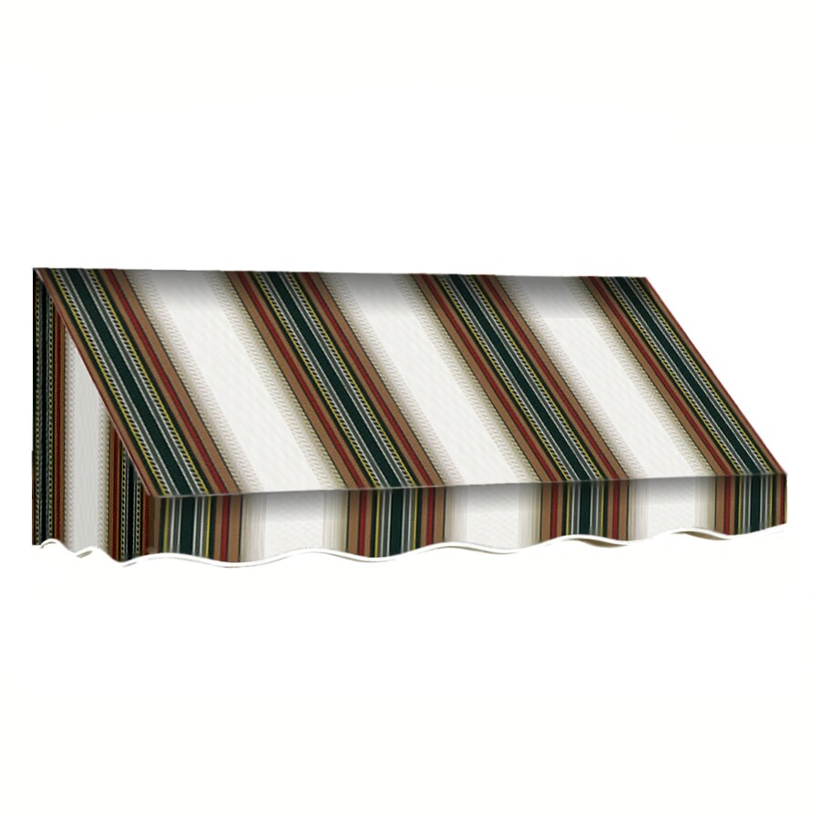 Awntech 100.5-in Wide x 36-in Projection Burgundy/Forest/Tan Stripe Slope Low Eave Window/Door Awning