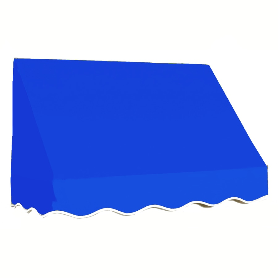 Awntech 304.5-in Wide x 36-in Projection Bright Blue Solid Slope Window/Door Awning