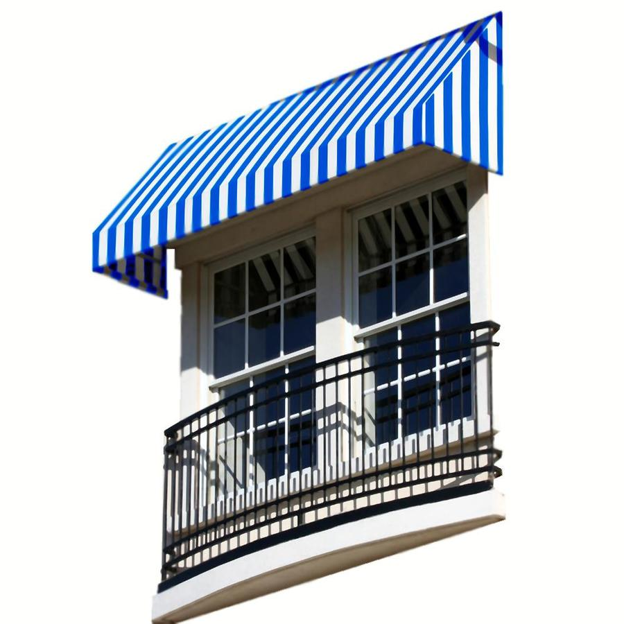 Awntech 124.5-in Wide x 36-in Projection Bright Blue/White Stripe Slope Window/Door Awning