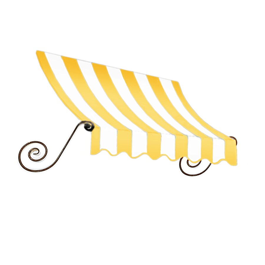 Awntech 148.5-in Wide x 24-in Projection Light Yellow/White Stripe Open Slope Window/Door Awning