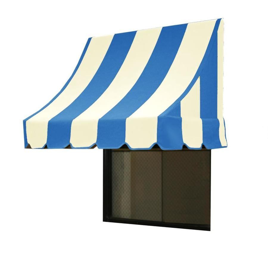 Awntech 76.5-in Wide x 24-in Projection Bright Blue/White Stripe Crescent Window/Door Awning