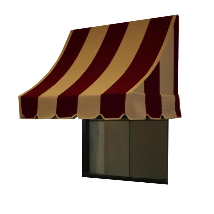 Awntech 88.5-in Wide x 24-in Projection Burgundy/Tan Stripe Crescent Window/Door Awning