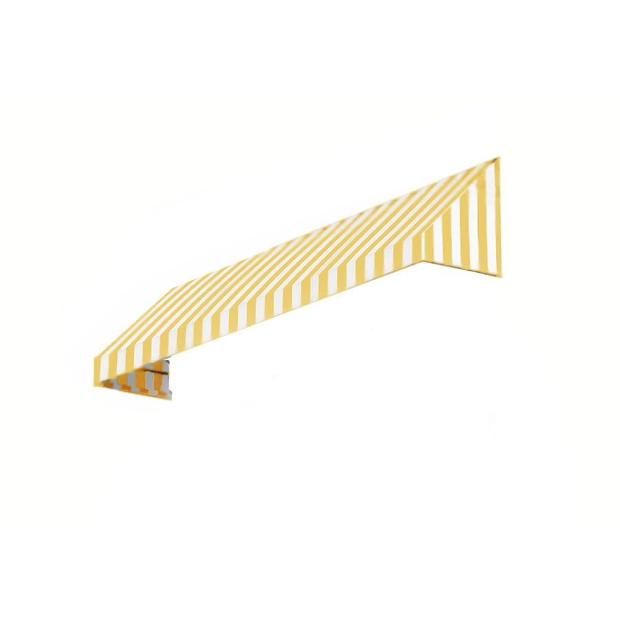 Awntech 64.5-in Wide x 36-in Projection Yellow/White Stripe Slope Window/Door Awning