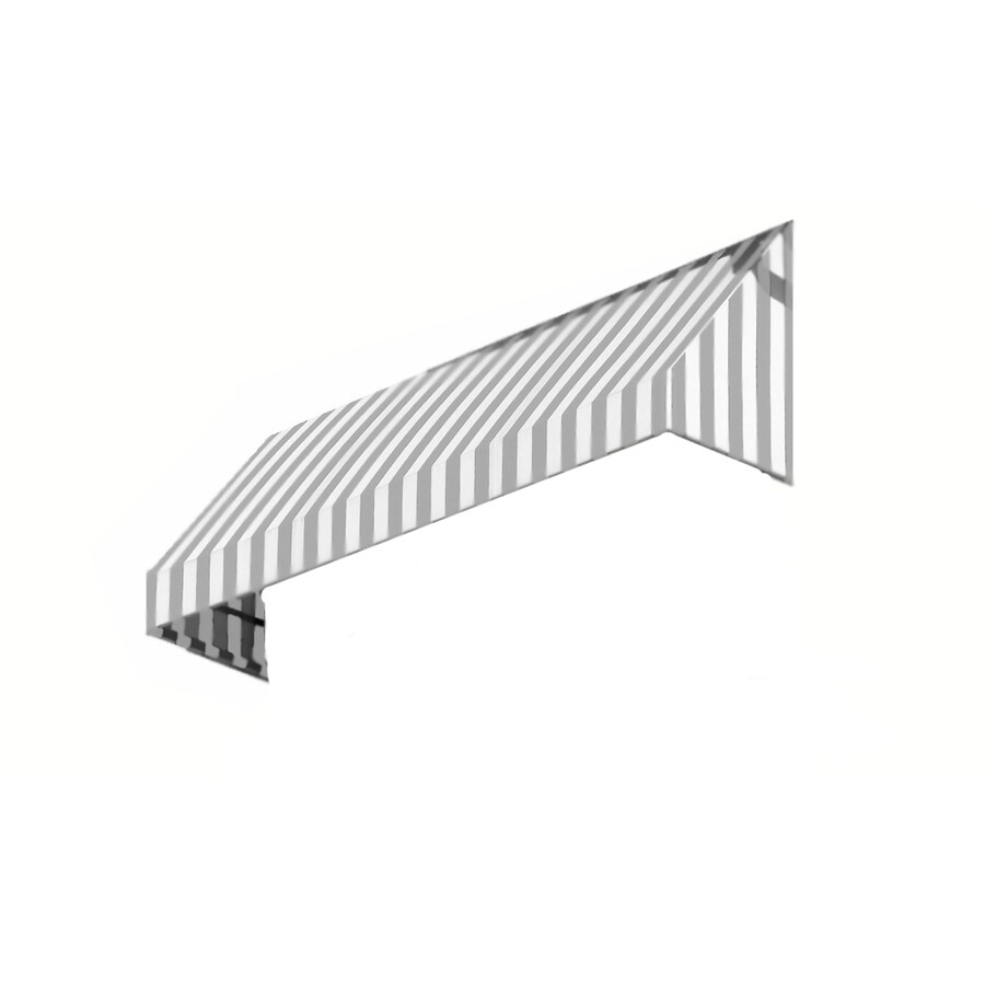 Awntech 304.5-in Wide x 36-in Projection Gray/White Stripe Slope Window/Door Awning