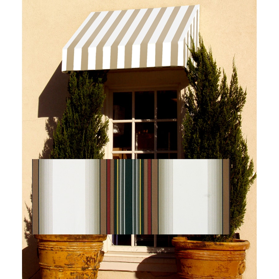 Awntech 52.5-in Wide x 36-in Projection Brown/Forest/Tan Stripe Slope Window/Door Awning