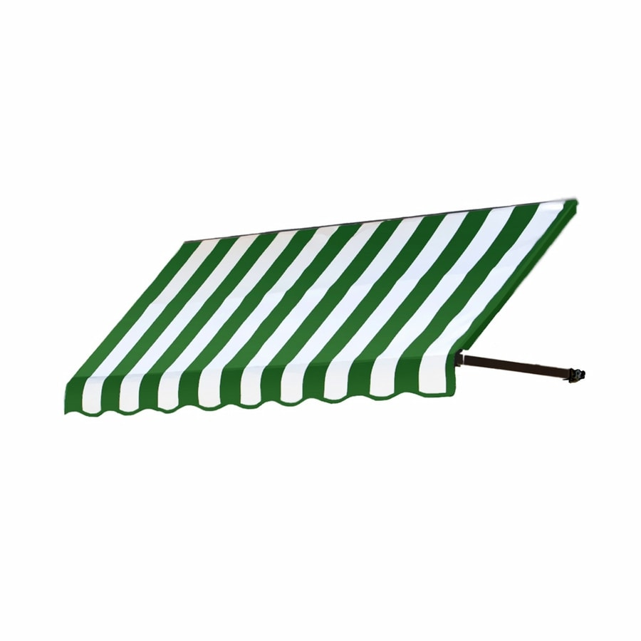 Awntech 76.5-in Wide x 30-in Projection Forest/White Stripe Open Slope Low Eave Window/Door Awning