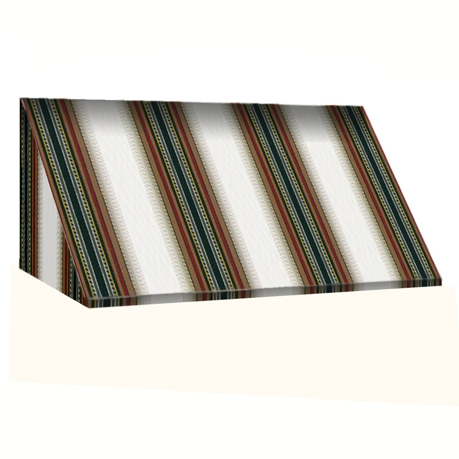 Awntech 196.5-in Wide x 36-in Projection Burgundy/Forest/Tan Stripe Slope Window/Door Awning