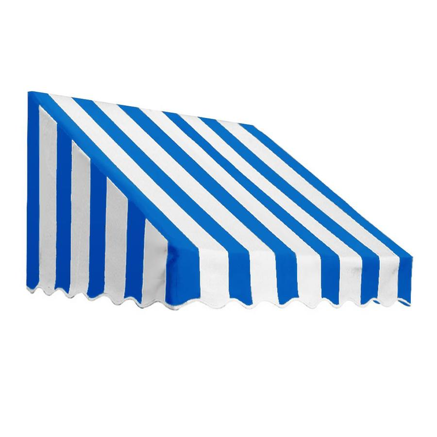 Awntech 124.5-in Wide x 30-in Projection Bright Blue/White Stripe Slope Low Eave Window/Door Awning