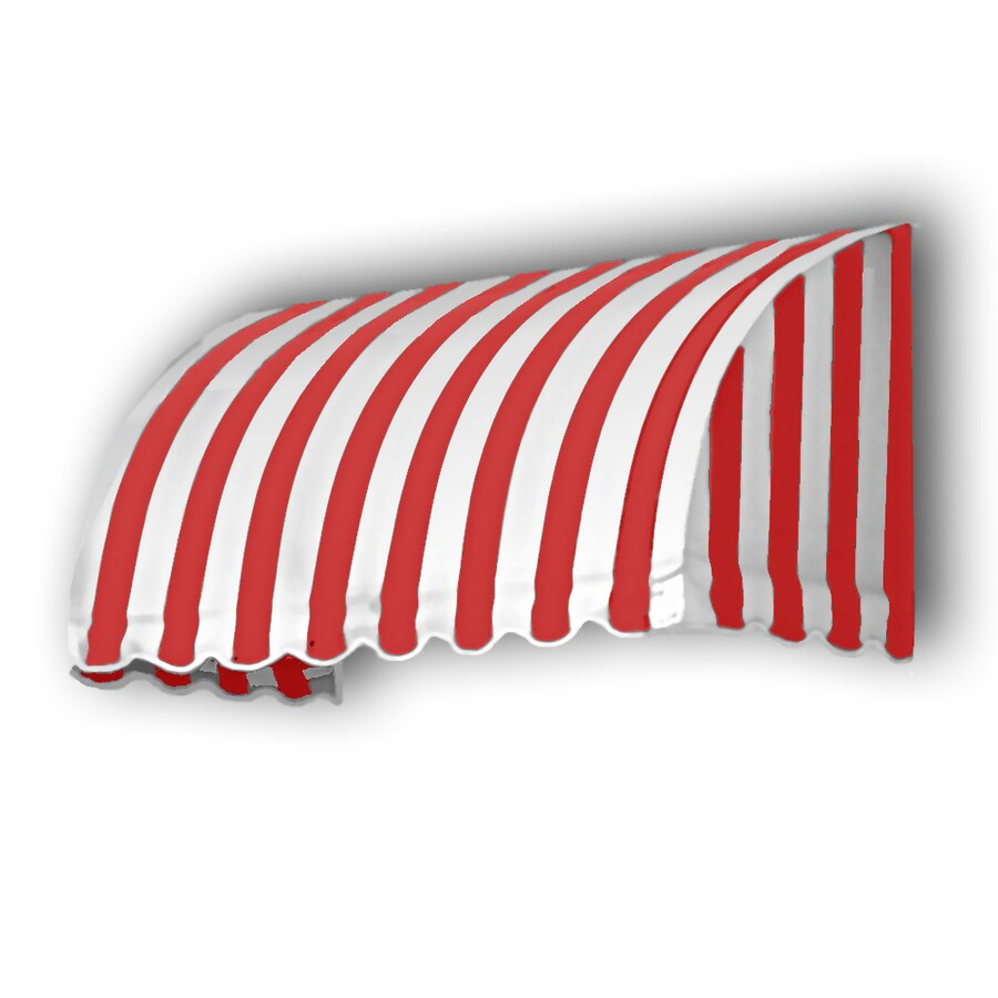 Awntech 148.5-in Wide x 36-in Projection Red/White Stripe Waterfall Window/Door Awning