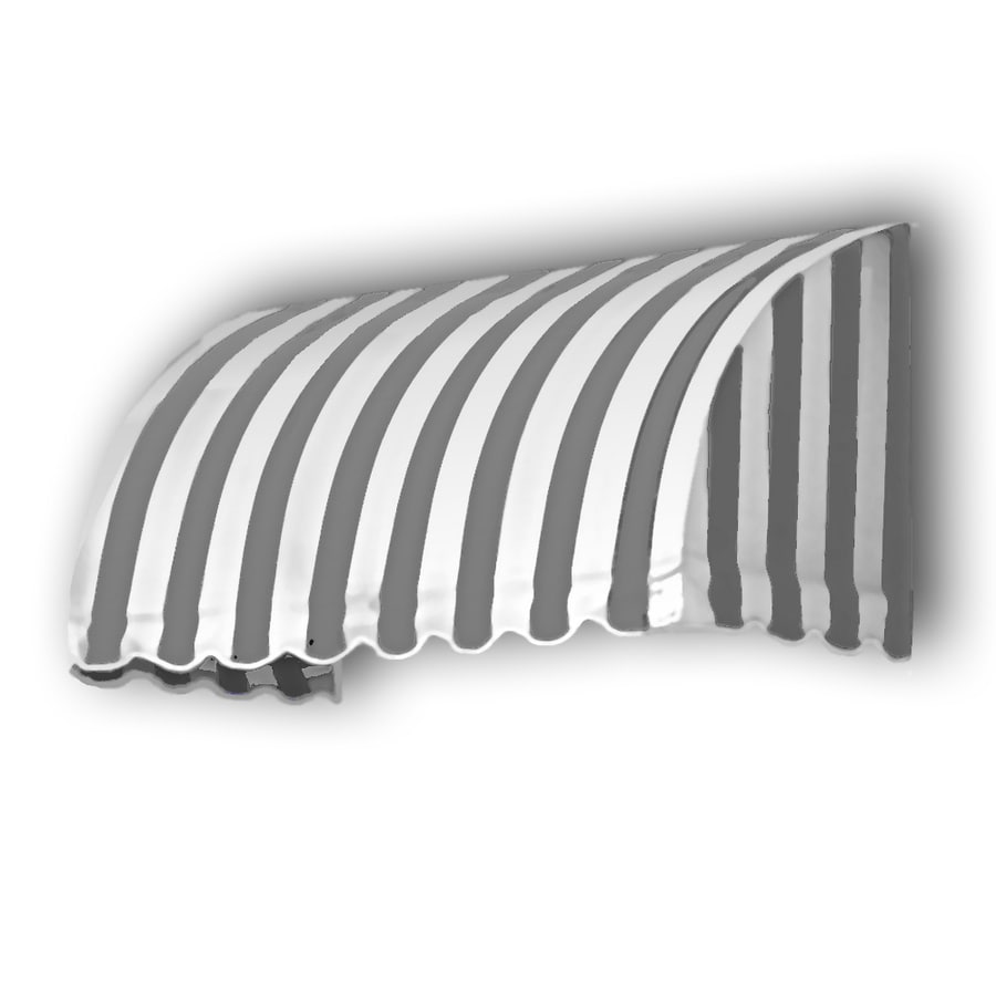 Awntech 100.5-in Wide x 36-in Projection Gray/White Stripe Waterfall Window/Door Awning