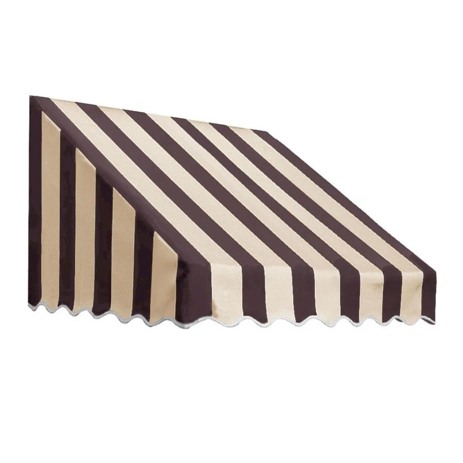 Awntech 124.5-in Wide x 36-in Projection Brown/Tan Stripe Slope Low Eave Window/Door Awning