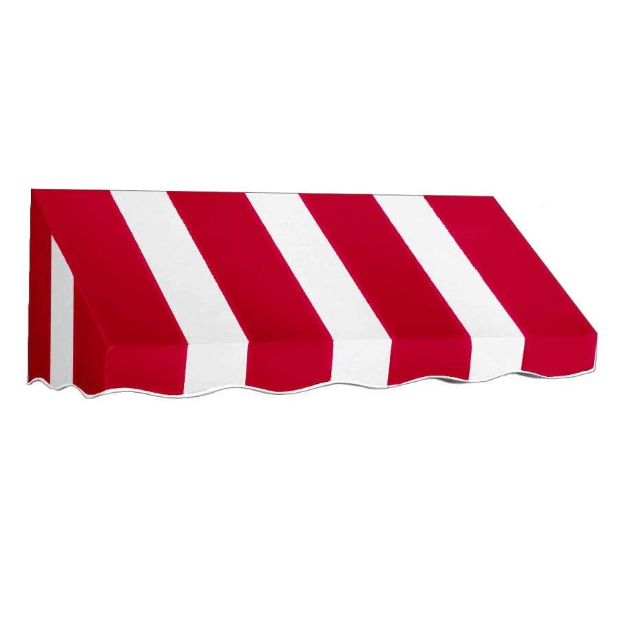 Awntech 64.5-in Wide x 30-in Projection Red/White Stripe Slope Low Eave Window/Door Awning