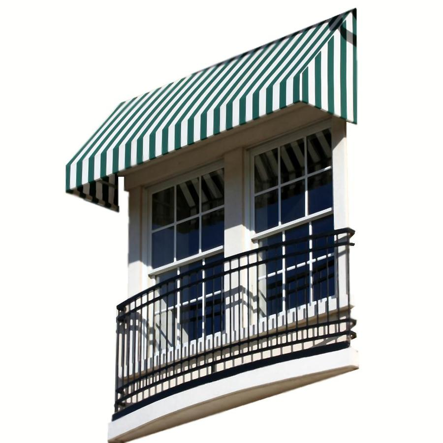 Awntech 100.5-in Wide x 24-in Projection Forest/White Stripe Slope Window/Door Awning