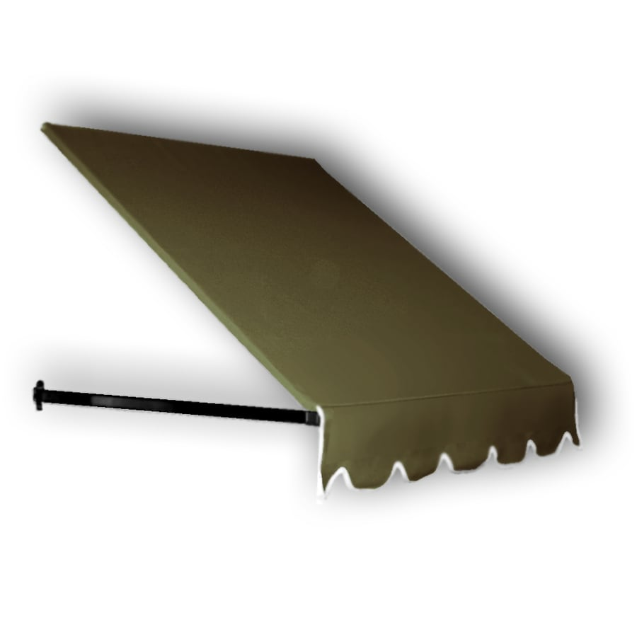 Awntech 64.5-in Wide x 36-in Projection Olive Solid Open Slope Window/Door Awning