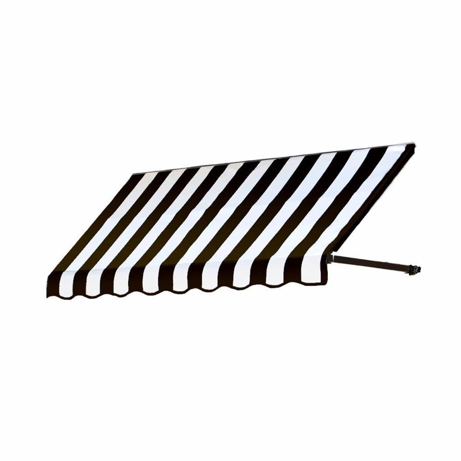 Awntech 76.5-in Wide x 36-in Projection Black/White Stripe Open Slope Window/Door Awning