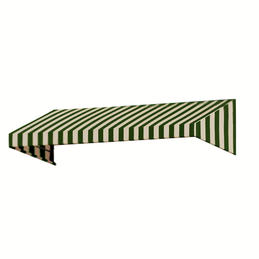 Awntech 124.5-in Wide x 48-in Projection Olive/Tan Stripe Slope Window/Door Awning