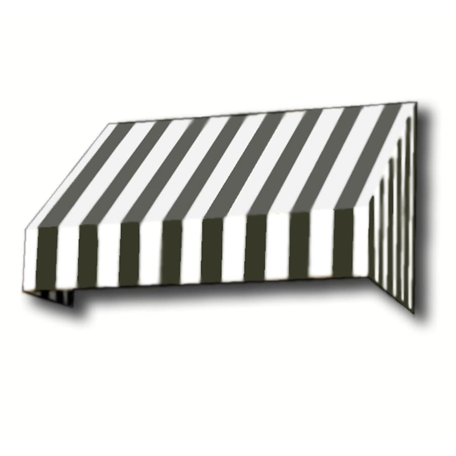 Awntech 424.5-in Wide x 48-in Projection Black/White Stripe Slope Window/Door Awning