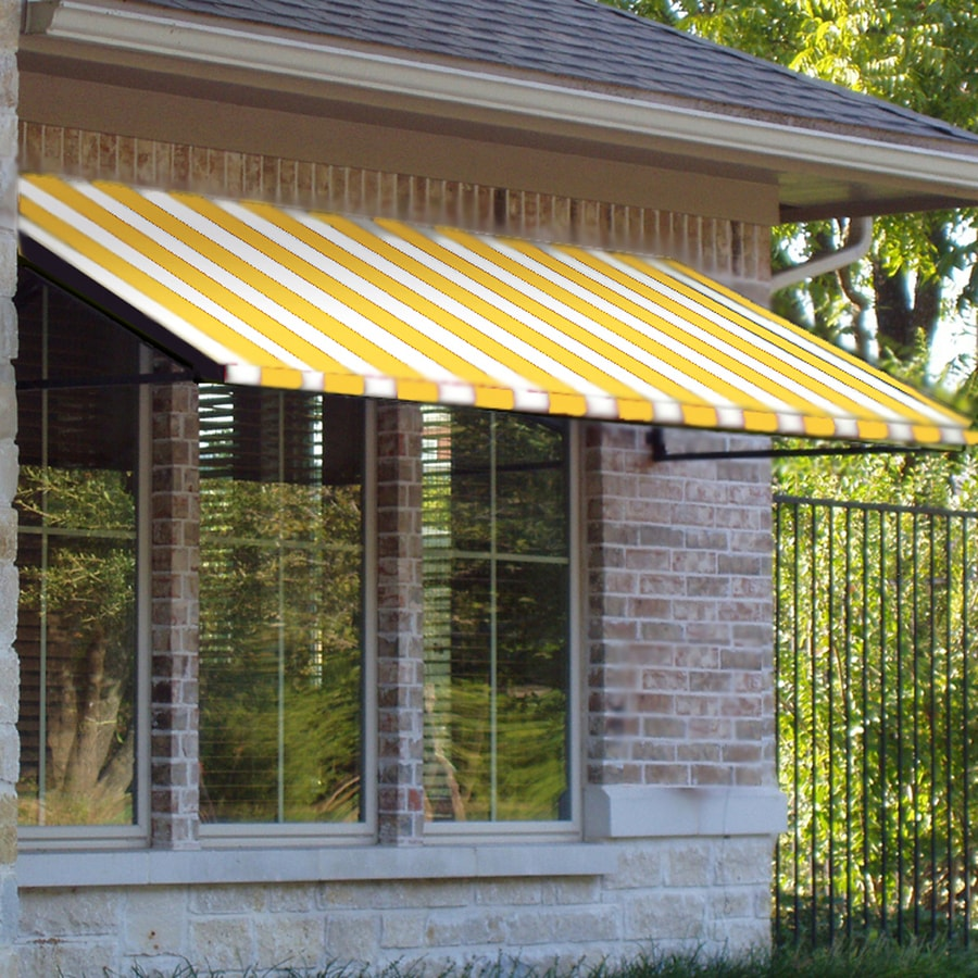 Awntech 484.5-in Wide x 48-in Projection Yellow/White Stripe Open Slope Window/Door Awning