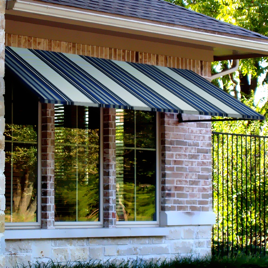 Awntech 64.5-in Wide x 48-in Projection Navy/Gray/White Stripe Open Slope Window/Door Awning