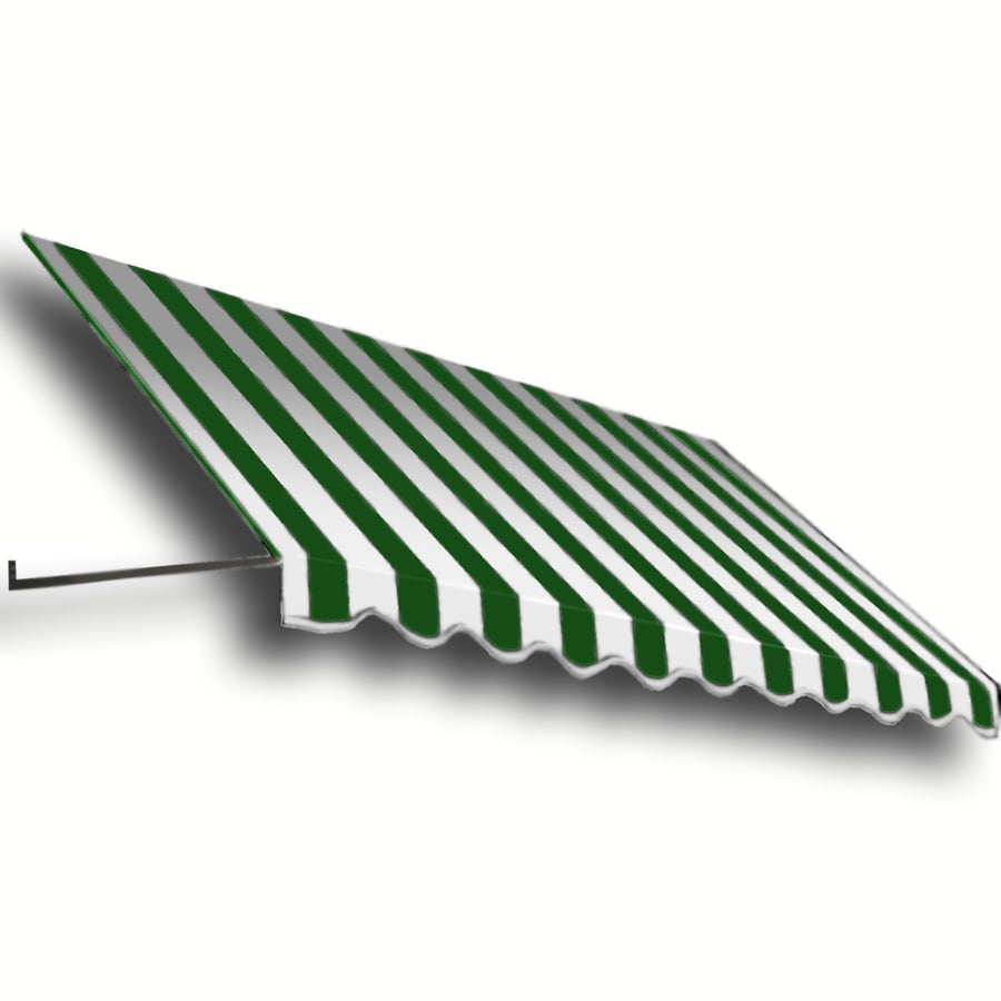 Awntech 100.5-in Wide x 48-in Projection Forest/White Stripe Open Slope Window/Door Awning