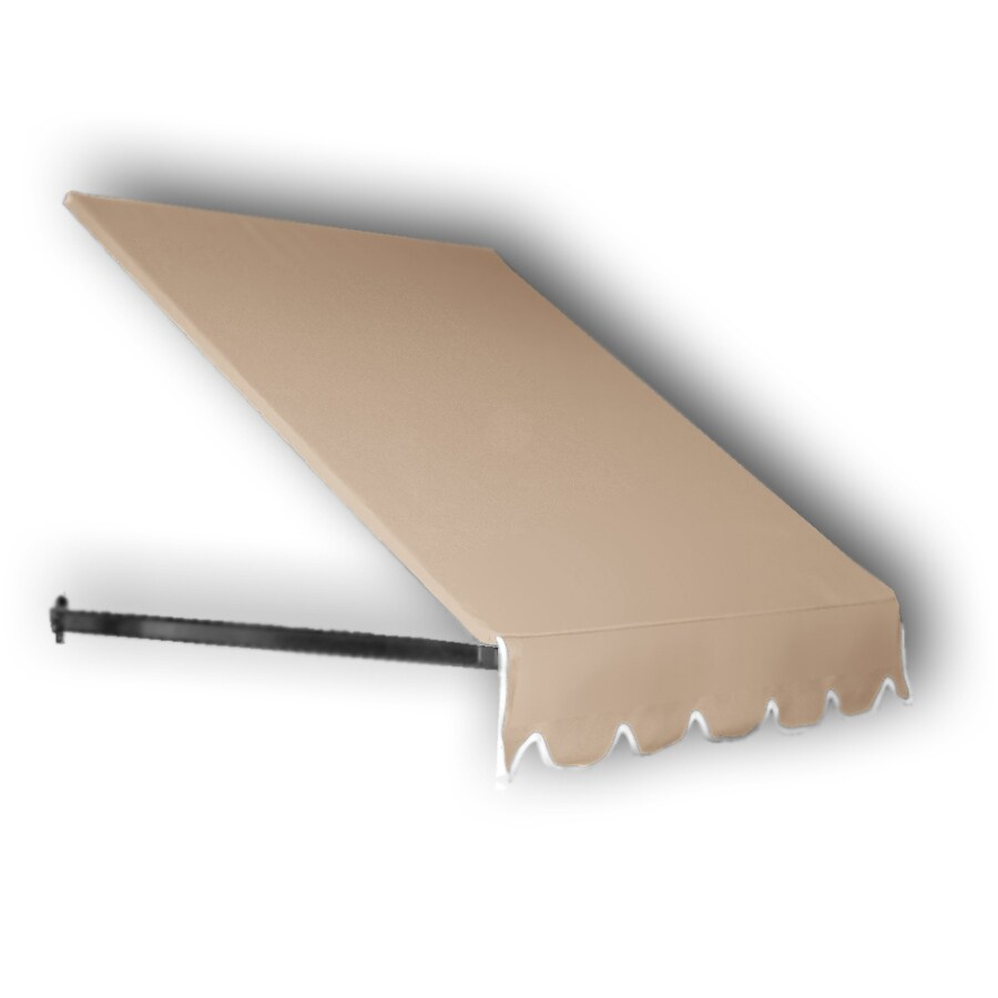 Awntech 148.5-in Wide x 48-in Projection Tan Solid Open Slope Window/Door Awning