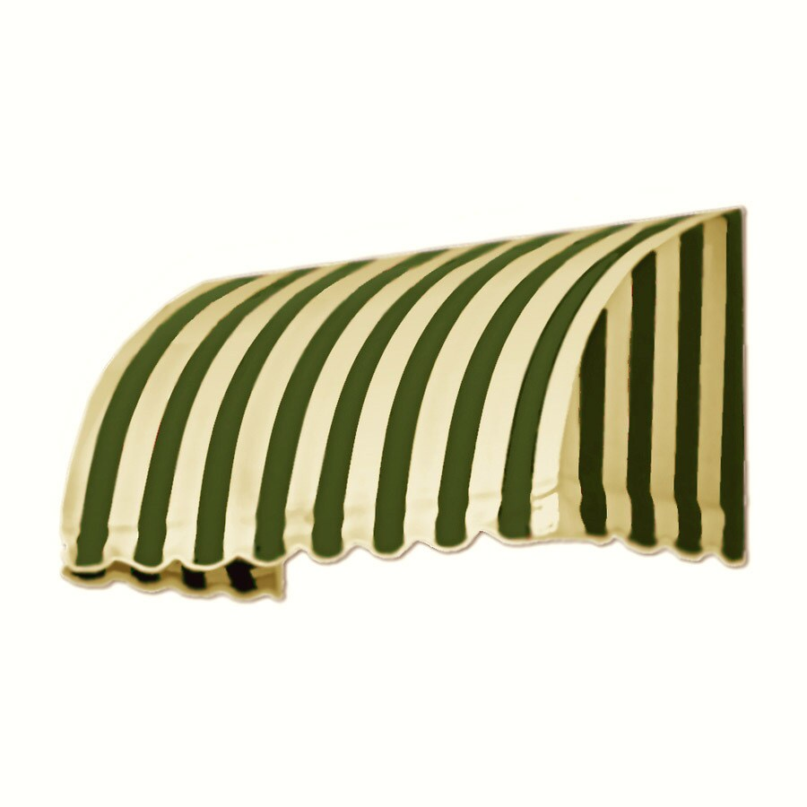 Awntech 124.5-in Wide x 24-in Projection Olive/Tan Stripe Waterfall Window/Door Awning
