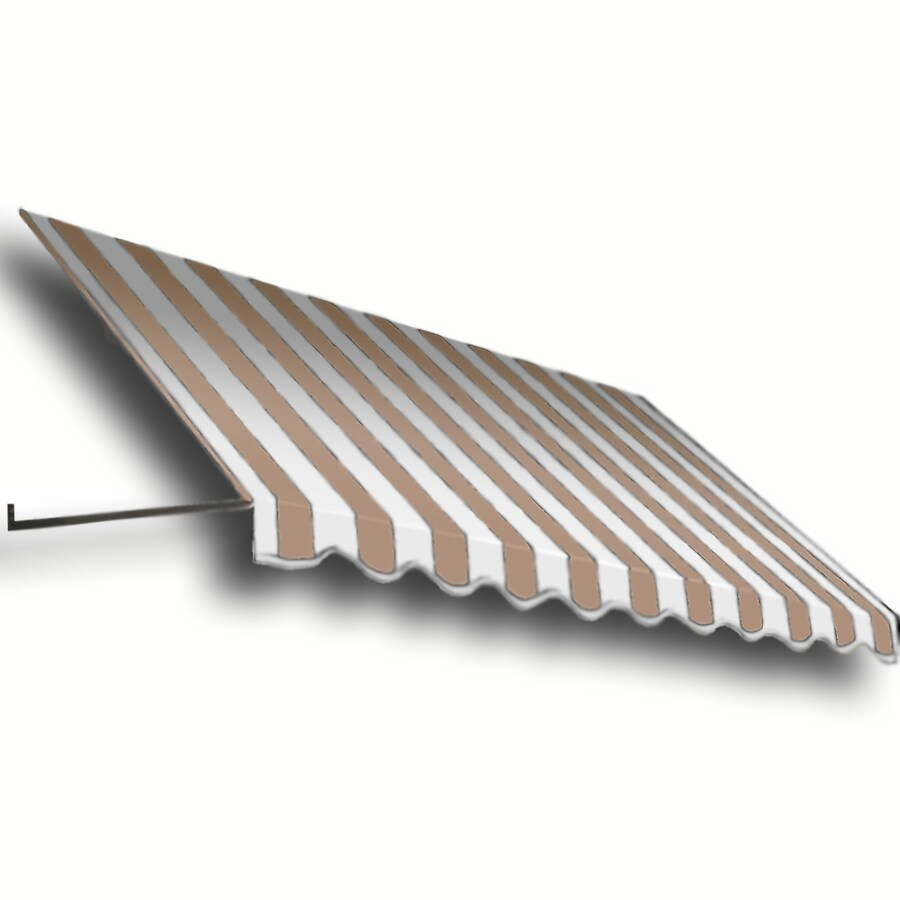 Awntech 484.5-in Wide x 36-in Projection Tan/White Stripe Open Slope Window/Door Awning