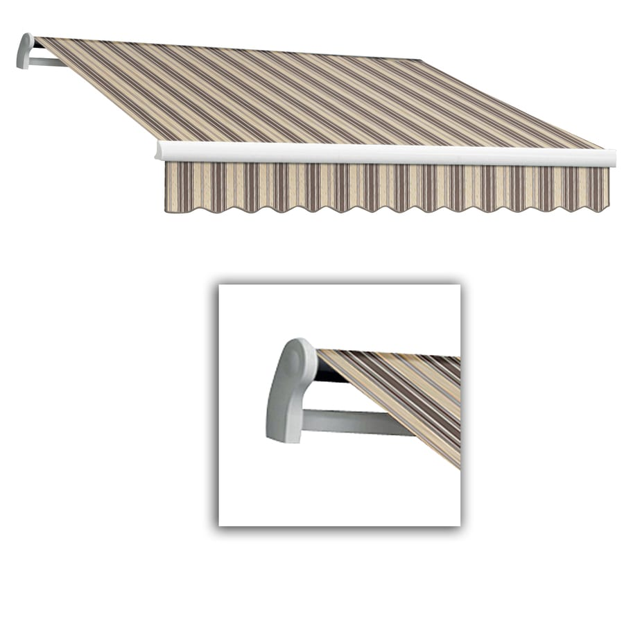 Awntech 12-ft Wide x 10-ft 2-in Projection Brown/White Striped Slope Patio Retractable Manual Awning