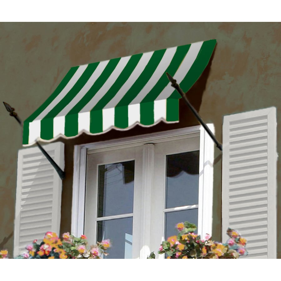 """Awntech 4' Beauty-Mark� New Orleans� (31""""H X 16""""D) Window/Entry Awning / Forest/White Stripe"""