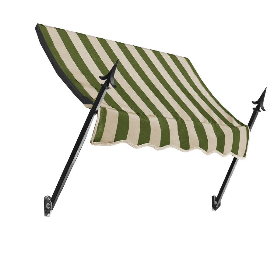Awntech 76.5-in Wide x 16-in Projection Olive/Tan Stripe Open Slope Window/Door Awning