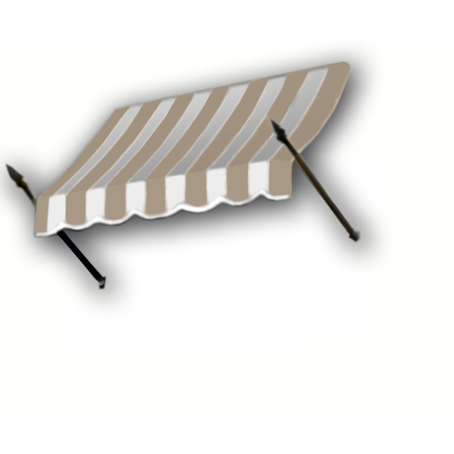 Awntech 88.5-in Wide x 16-in Projection Tan/White Stripe Open Slope Window/Door Awning