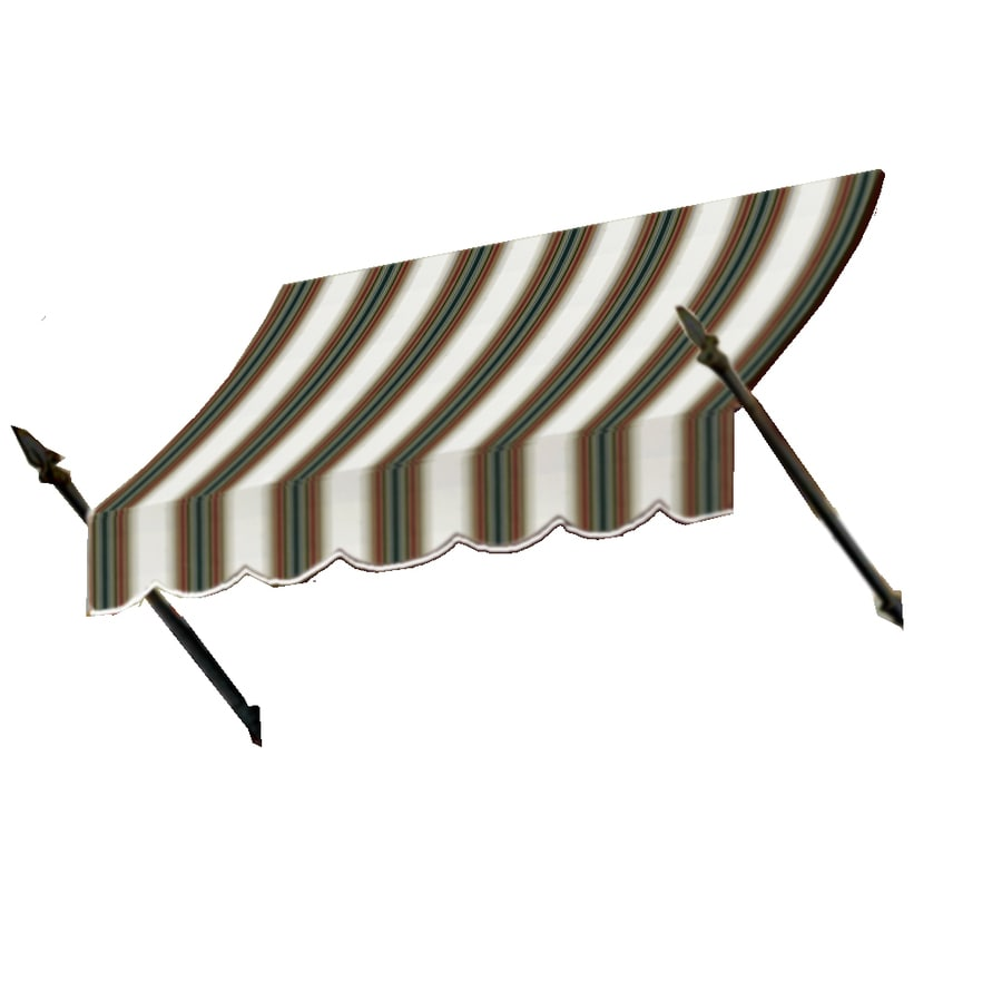 Awntech 124.5-in Wide x 32-in Projection Burgundy/Forest/Tan Stripe Open Slope Window/Door Awning