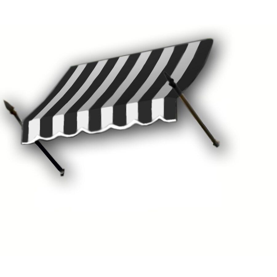 Awntech 124.5-in Wide x 32-in Projection Black/White Stripe Open Slope Window/Door Awning