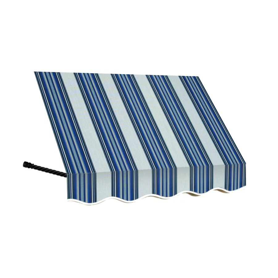 Awntech 64.5-in Wide x 36-in Projection Navy/Gray/White Stripe Open Slope Window/Door Awning